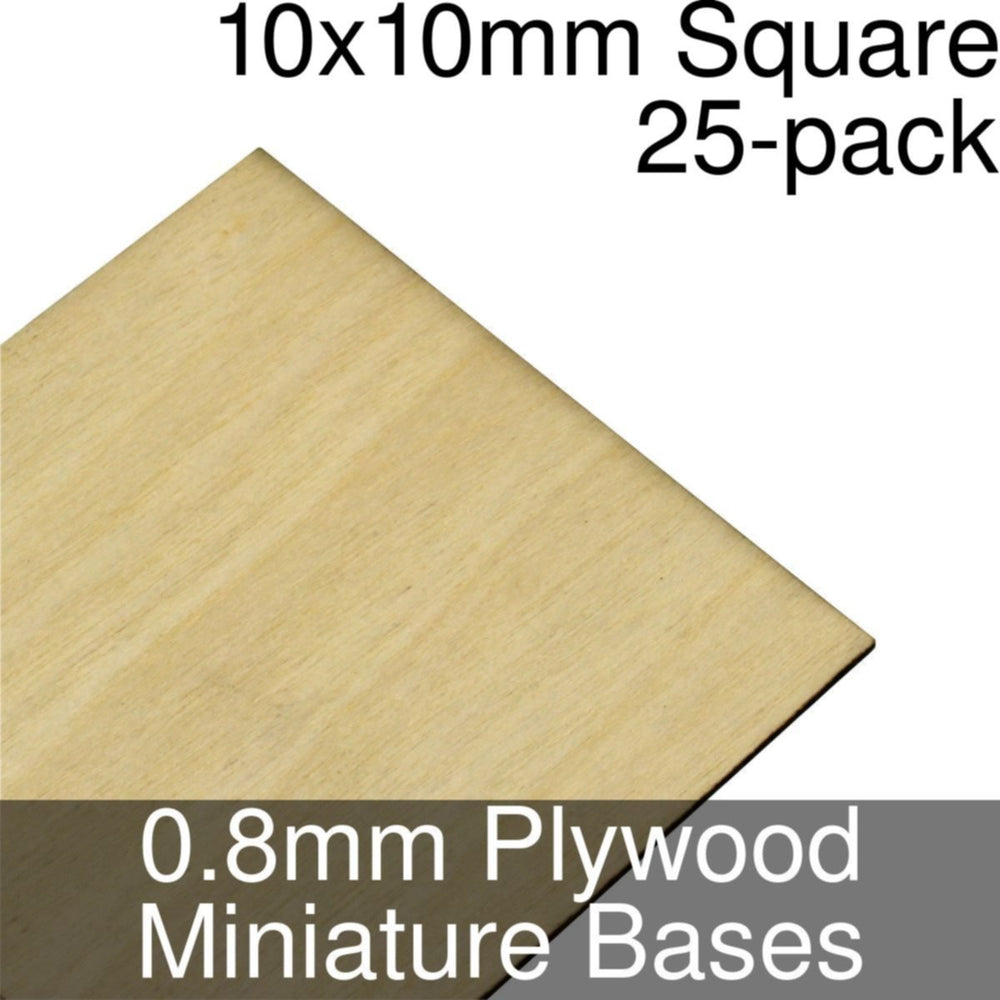 Miniature Bases, Square, 10x10mm, 0.8mm Plywood (25) - LITKO Game Accessories