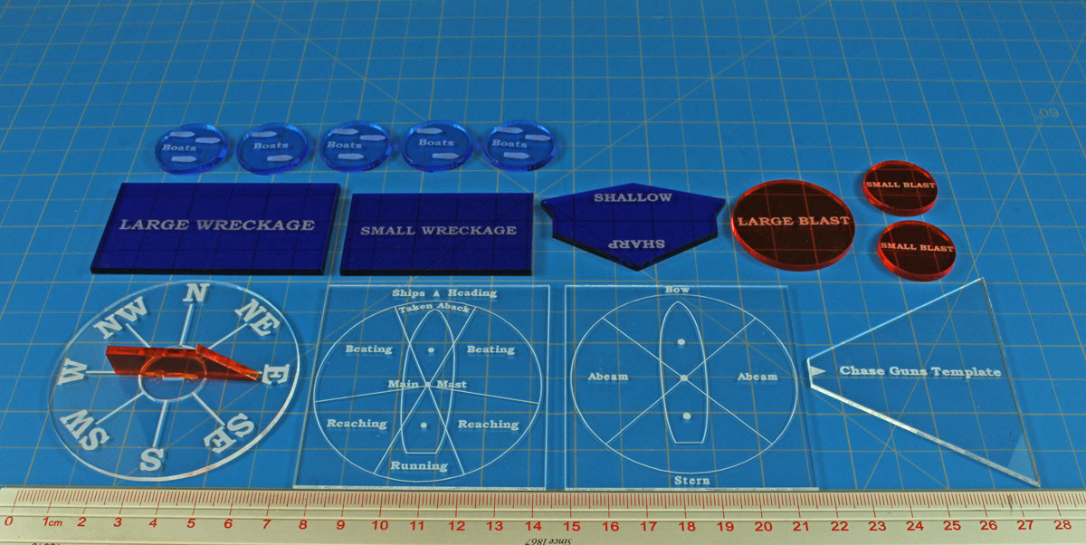 LITKO Naval Template & Token Set compatible with Trafalgar, Multi-Color (15) - LITKO Game Accessories
