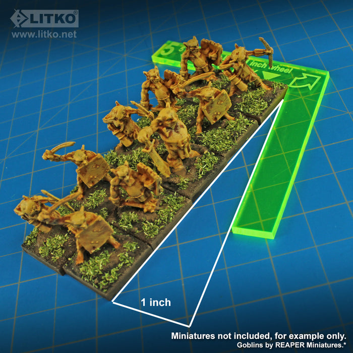 LITKO Fantasy Battle Wheels for 20mm Bases, Fluorescent Green (6) - LITKO Game Accessories