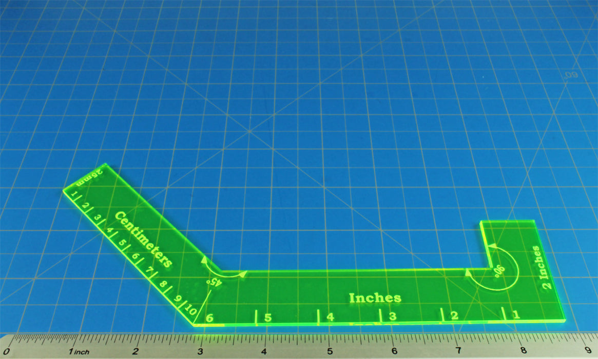 LITKO Angled Ruler, Fluorescent Green - LITKO Game Accessories