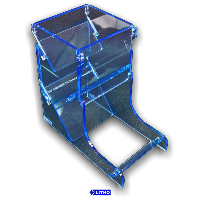 Transparent Light Blue Dice Tower - LITKO Game Accessories
