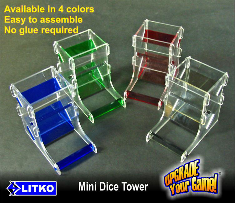 Mini Dice Tower Kit, Translucent Blue & Clear - LITKO Game Accessories
