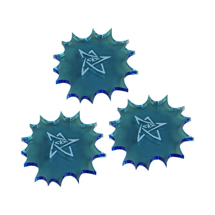 LITKO Cthulhu Stunned Templates, Fluorescent Blue (3) - LITKO Game Accessories
