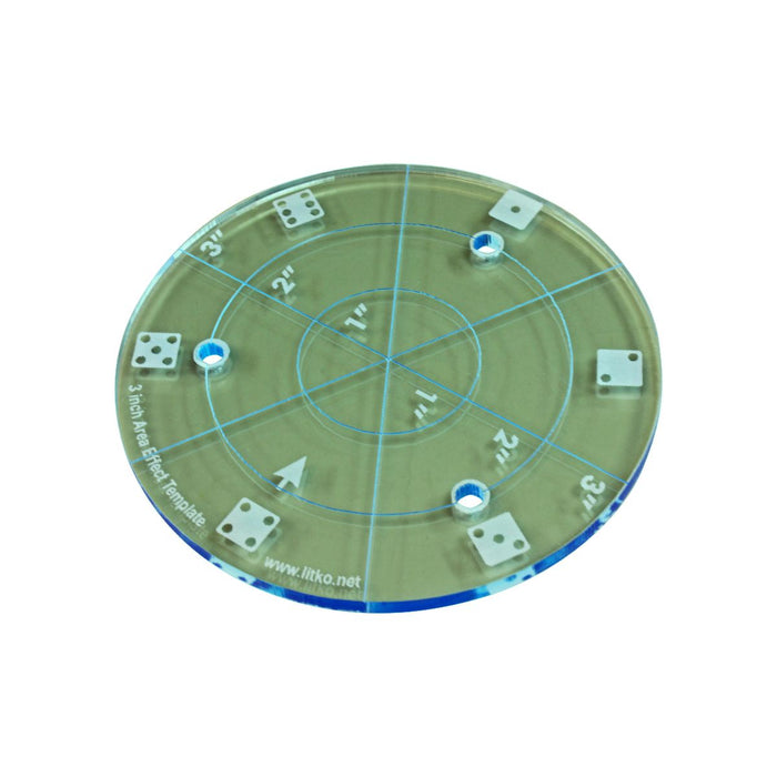 LITKO 3-inch Diameter Area Template, Transparent Light Blue - LITKO Game Accessories