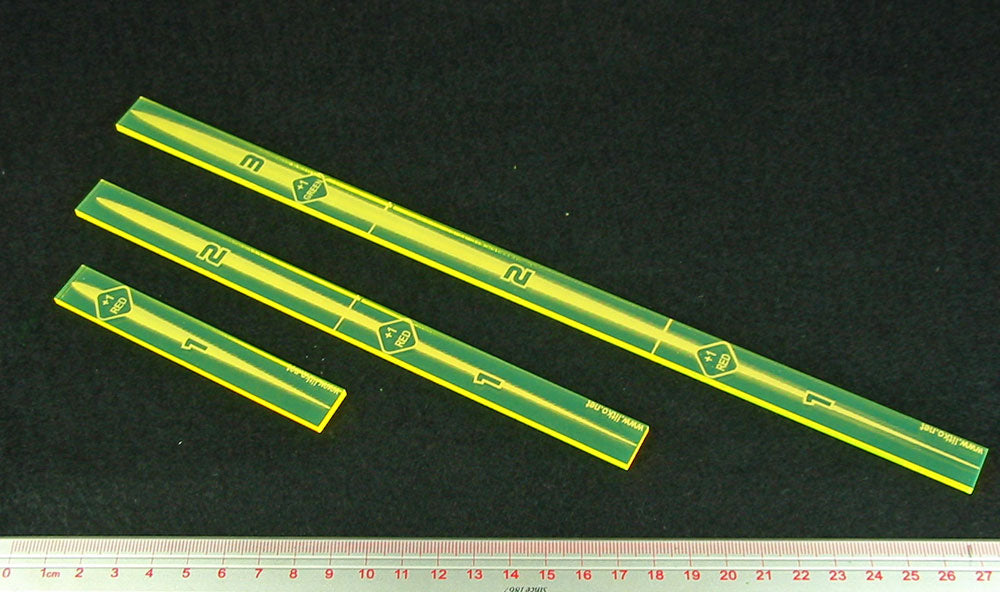 Space Fighter Multi-Range Fire Gauge Set, Fluorescent Yellow (3) - LITKO Game Accessories
