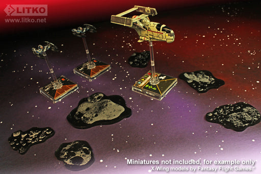LITKO Space Fighter Asteroid Template Set, Translucent Grey (6) - LITKO Game Accessories
