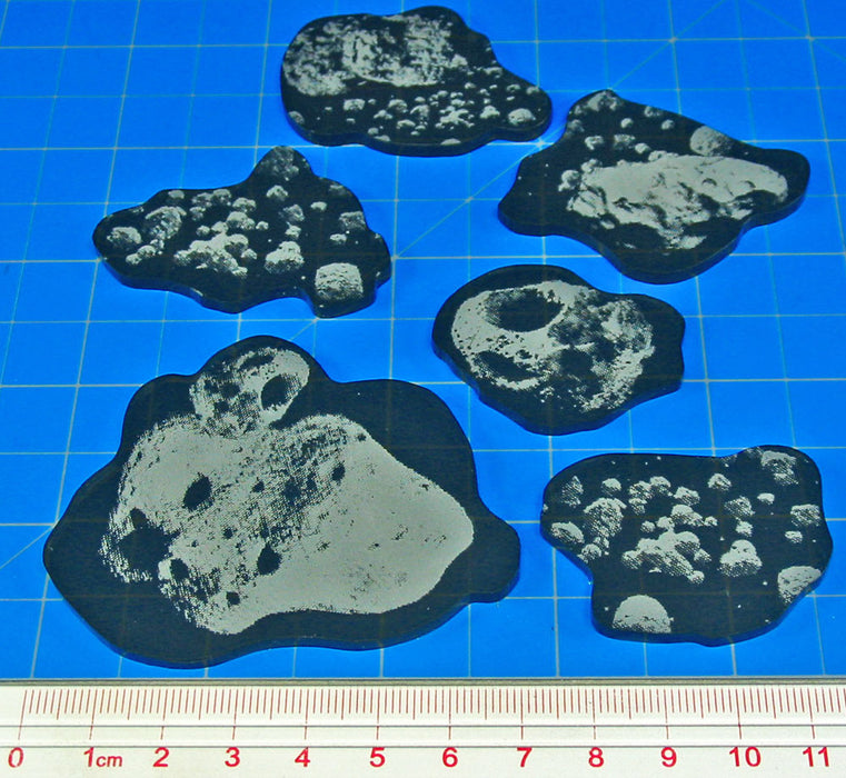 Space Fighter Asteroid Template Set, Translucent Grey (6) - LITKO Game Accessories
