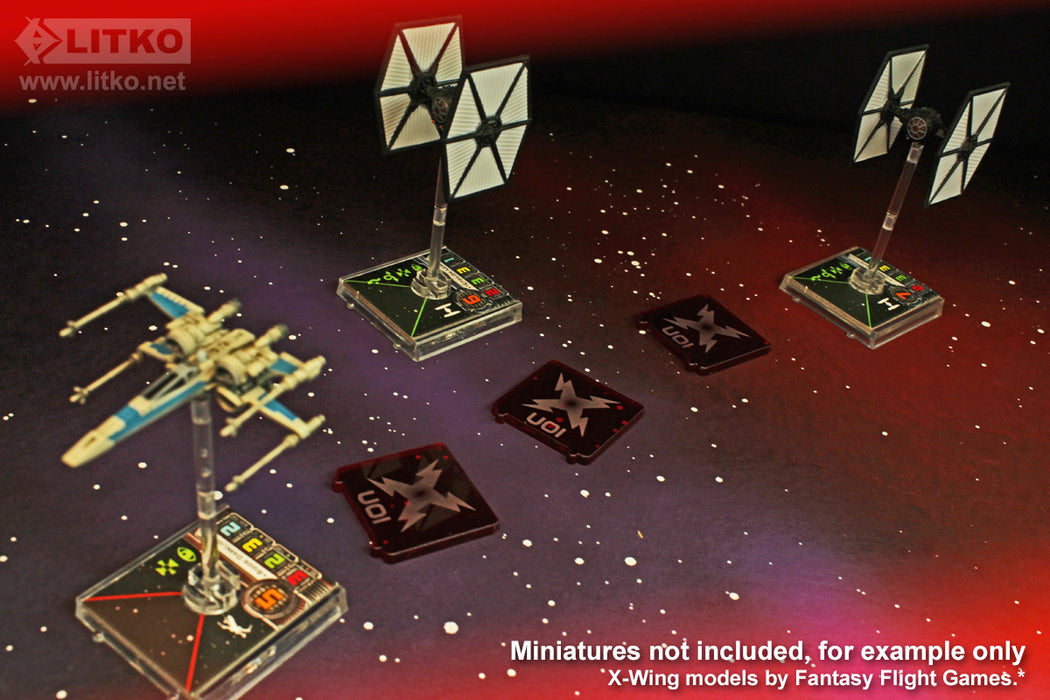 LITKO Space Fighter Ion Bomb Templates Translucent Red (3) - LITKO Game Accessories