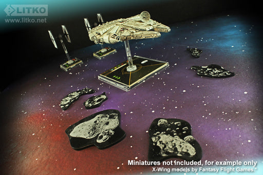 LITKO Space Fighter Asteroid Template Set #2, Translucent Grey (6) - LITKO Game Accessories