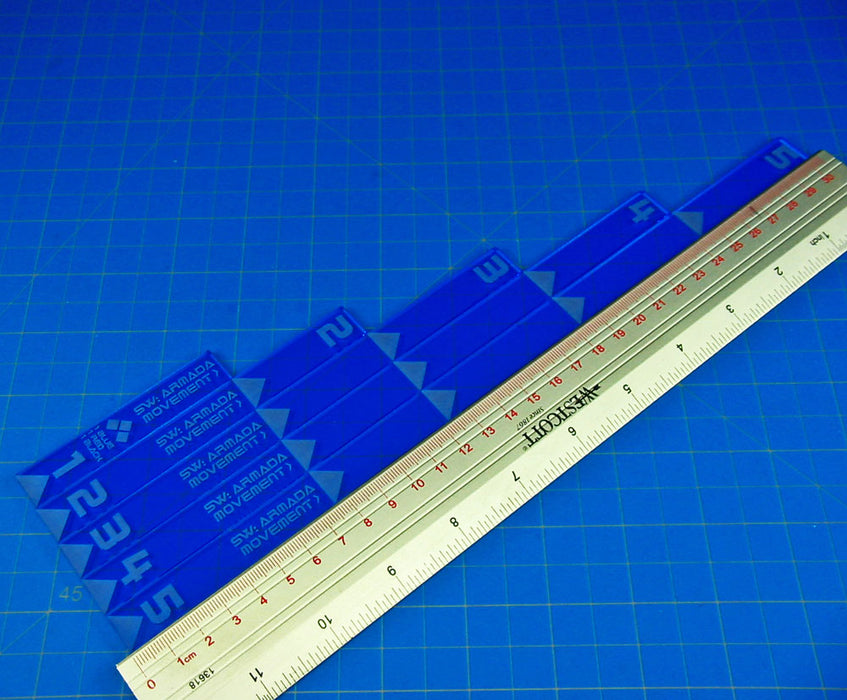 SW: Armada Multi Range Movement Ruler Set, Fluorescent Blue  (5) - LITKO Game Accessories