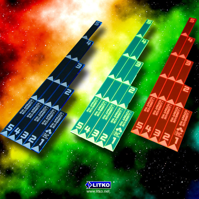 SW: Armada Multi Range Movement Ruler Set, Fluorescent Green (5) - LITKO Game Accessories