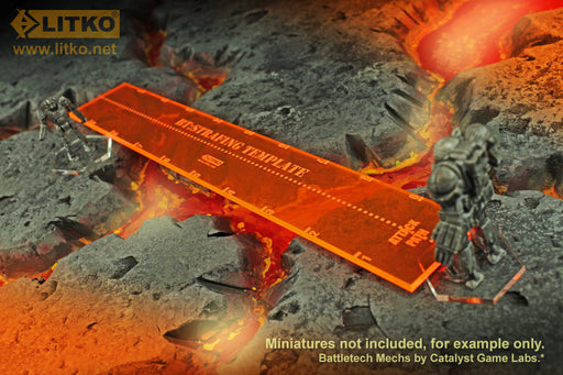 LITKO Strafe Template Compatible with Battletech, Fluorescent Orange - LITKO Game Accessories