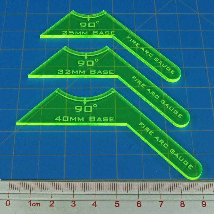 90º Fire Arc Gauge Set, Fluorescent Green (3) - LITKO Game Accessories