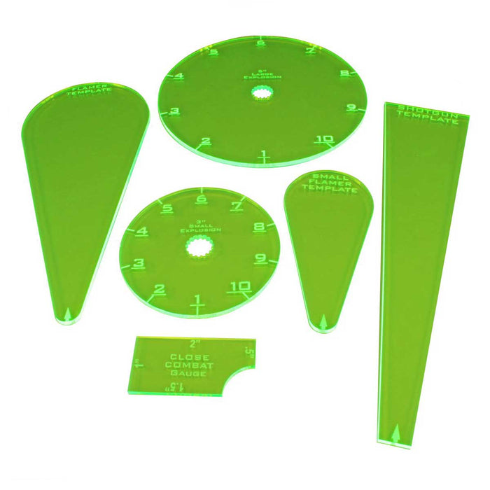 WZ Resurrection Template Set, Fluorescent Green (6) - LITKO Game Accessories