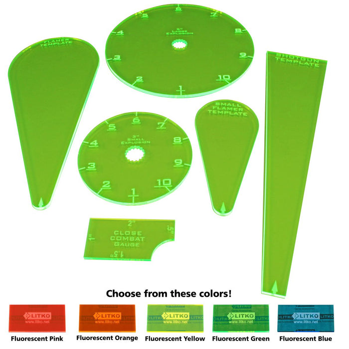 WZ Resurrection Template Set, Fluorescent Yellow (6) - LITKO Game Accessories