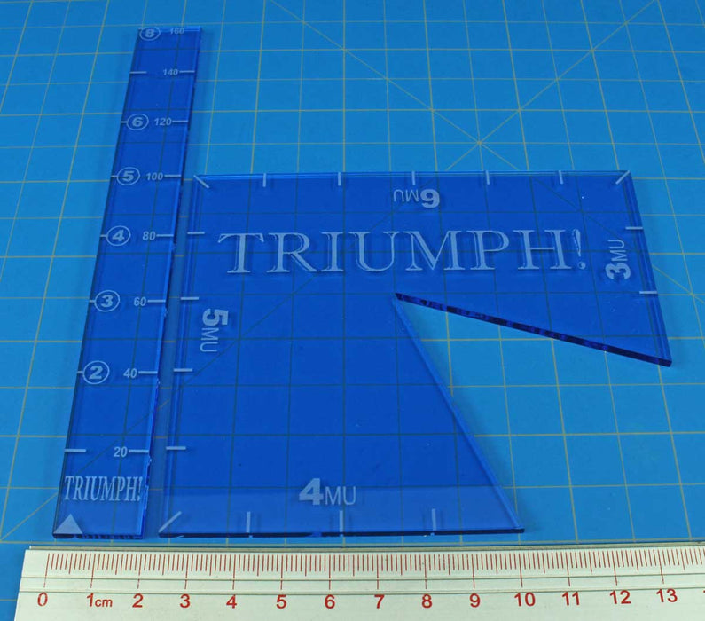 TRIUMPH! Template Set, Fluorescent Blue (2) - LITKO Game Accessories