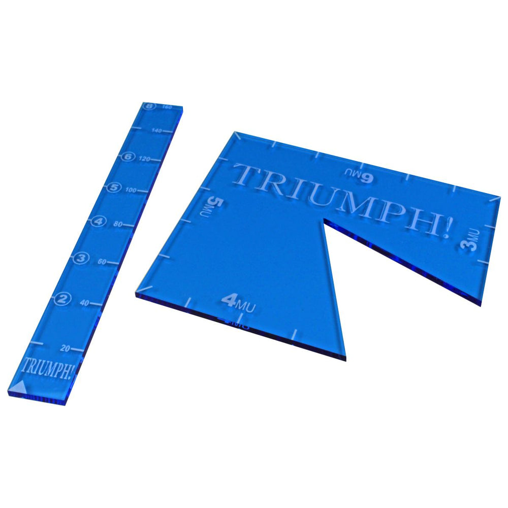LITKO Ruler and Notch Gauge Set compatible with TRIUMPH!, Fluorescent Blue (2) - LITKO Game Accessories