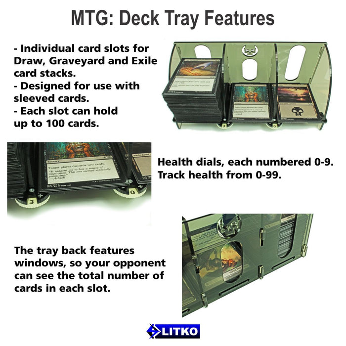 LITKO Card Deck Tray with Life Count Dials Compatible with MtG, Blue - LITKO Game Accessories