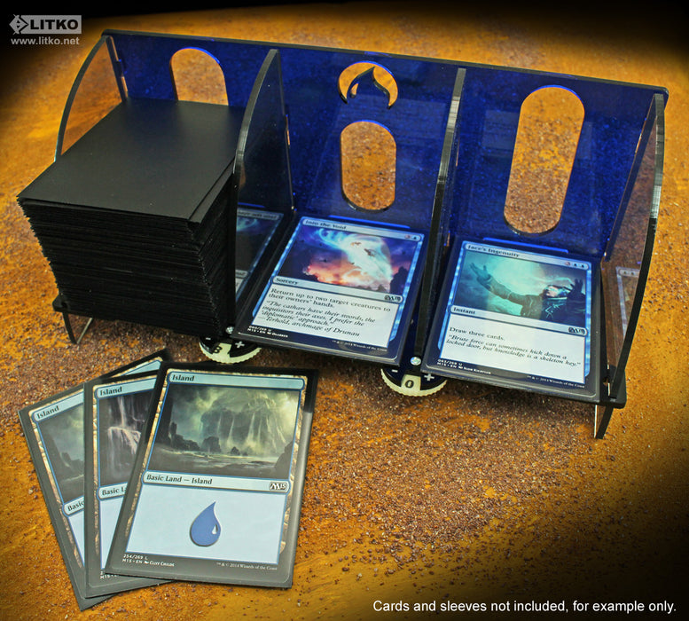 MtG: Deck Tray with Life Count Dials, Blue - LITKO Game Accessories
