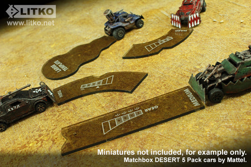 LITKO Gaslands Miniatures Game Template Set, Translucent Bronze (12) - LITKO Game Accessories