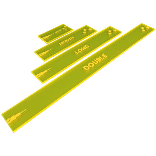 Gaslands Miniatures Game Shooting Gauges Set, Fluorescent Yellow (4) - LITKO Game Accessories