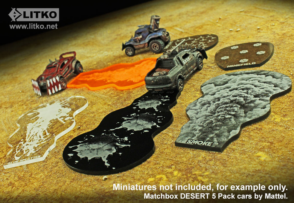 Gaslands Miniatures Game Weapon Effects Templates Set, Multi-Colored (6) - LITKO Game Accessories