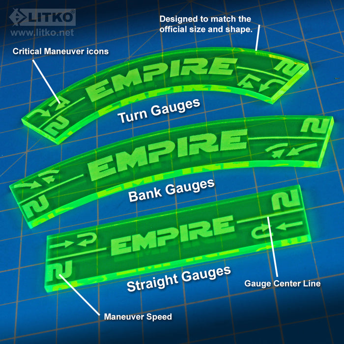 LITKO Space Fighter 2nd Edition Empire Maneuver Gauge Set, Fluorescent Green (11) - LITKO Game Accessories