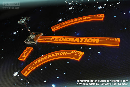 LITKO Space Fighter 2nd Edition Federation Maneuver Gauge Set, Fluorescent Orange (11) - LITKO Game Accessories