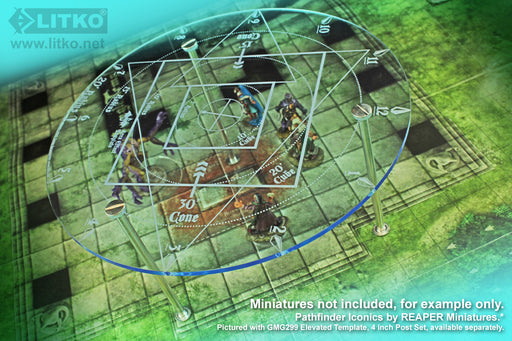 LITKO Fantasy RPG Area Effect Damage & Spell Template Compatible with 5E, Transparent Light Blue - LITKO Game Accessories