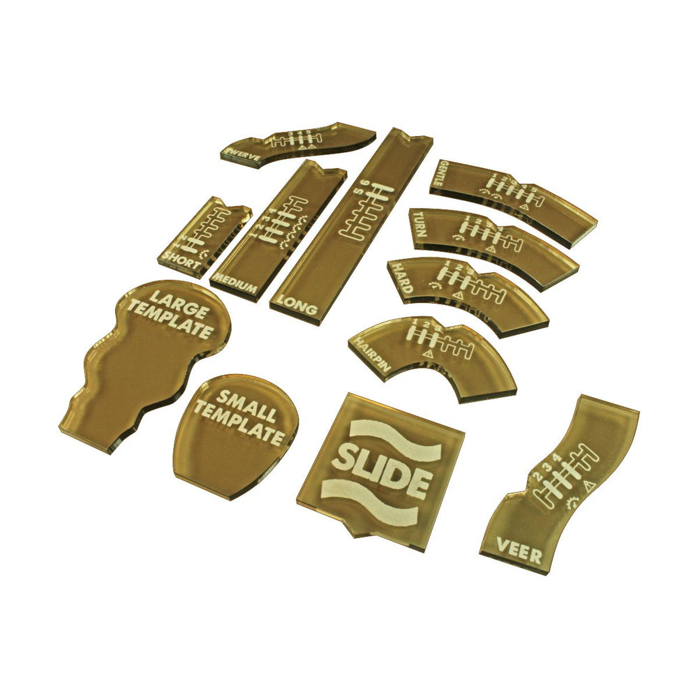 Half Scale Gaslands Miniatures Game Template Set, Translucent Bronze (12) - LITKO Game Accessories