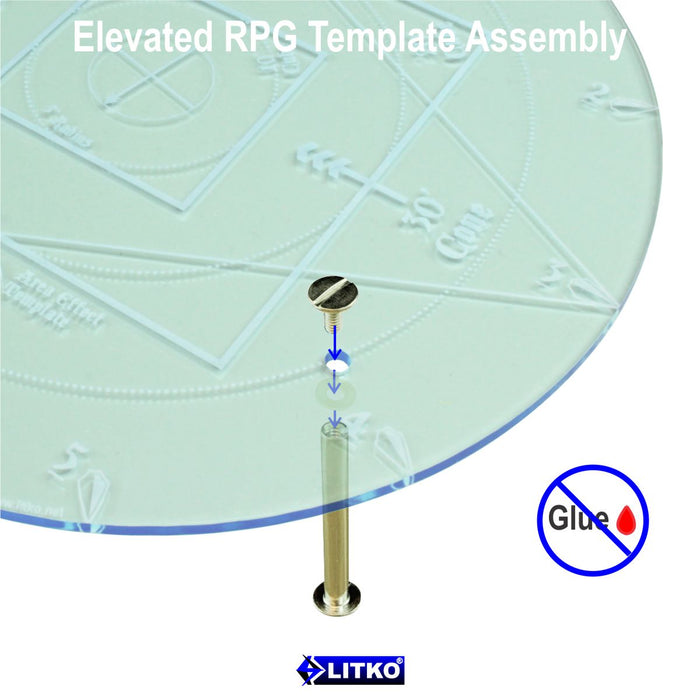 LITKO Elevated RPG Damage & Spell Template, Transparent Light Blue - LITKO Game Accessories