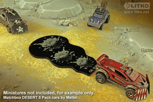 LITKO Oil Slick Template Compatible with Gaslands Miniature Game, Black - LITKO Game Accessories