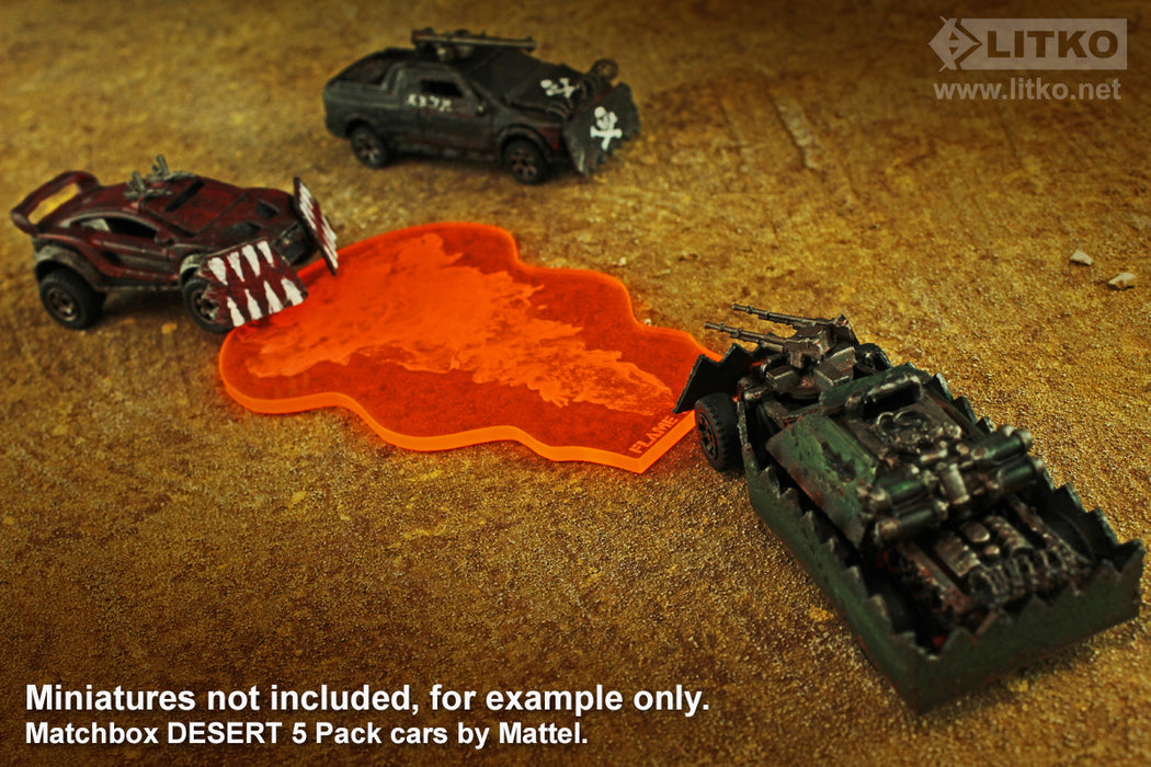 LITKO Flame Thrower Template Compatible with Gaslands Miniature Wargame, Fluorescent Orange - LITKO Game Accessories