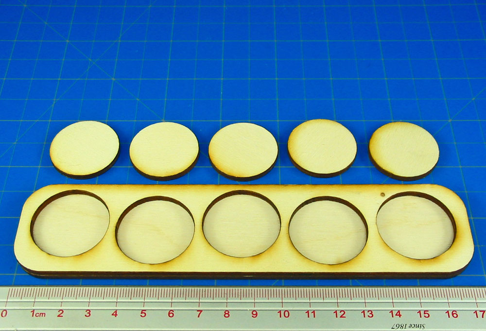 5x1 Formation 30mm Circle Base Skirmish Tray - LITKO Game Accessories