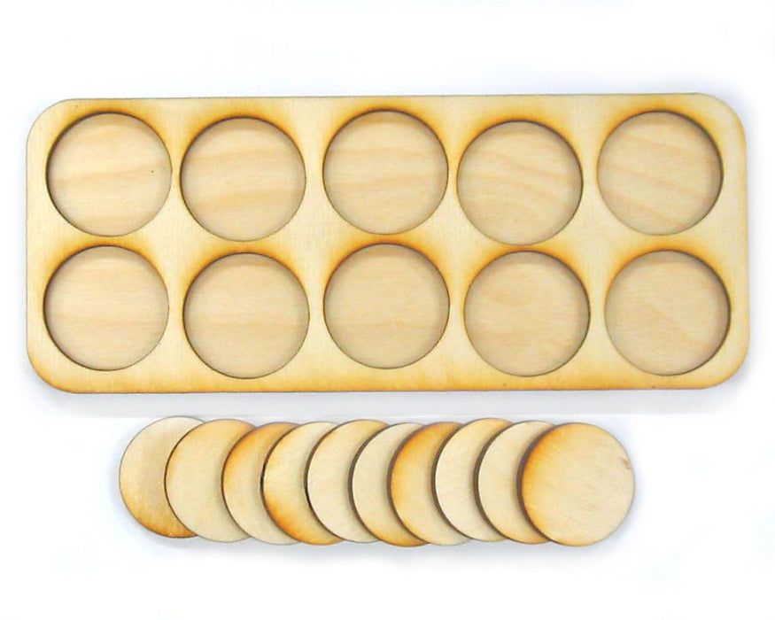 5x2 Formation 30mm Circle Base Skirmish Tray - LITKO Game Accessories