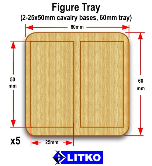 Figure Tray, 2-25x50mm Bases - LITKO Game Accessories