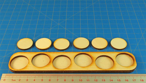 6x1 Formation Skirmish Tray for 25mm Circle Bases - LITKO Game Accessories