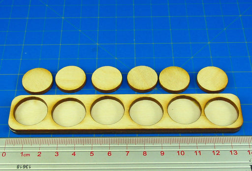 6x1 Formation Skirmish Tray for 20mm Circle Bases - LITKO Game Accessories