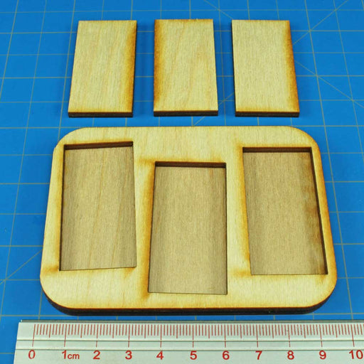 3x1 Formation 25x50mm Rectangular Bases Skirmish Tray - LITKO Game Accessories