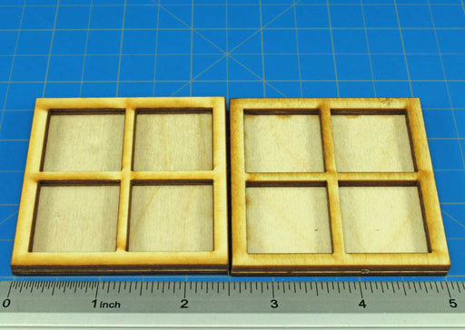 4-Figure 25mm Square Base Rune Battles Proxy Movement Trays  (2) - LITKO Game Accessories