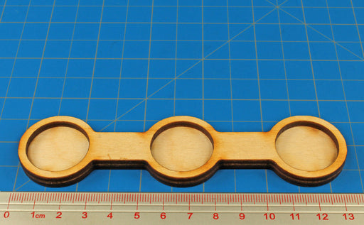 3 Figure Line Formation 25mm Circle Bases, 1 Inch Coherency Trays - LITKO Game Accessories