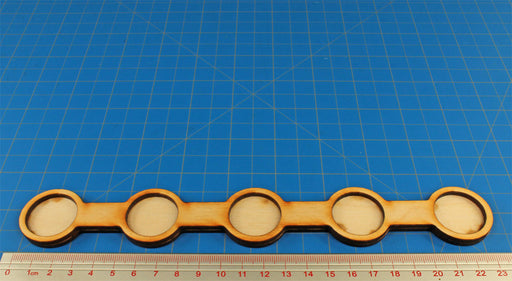 5 Figure Line Formation 25mm Circle Bases, 1 Inch Coherency Trays - LITKO Game Accessories