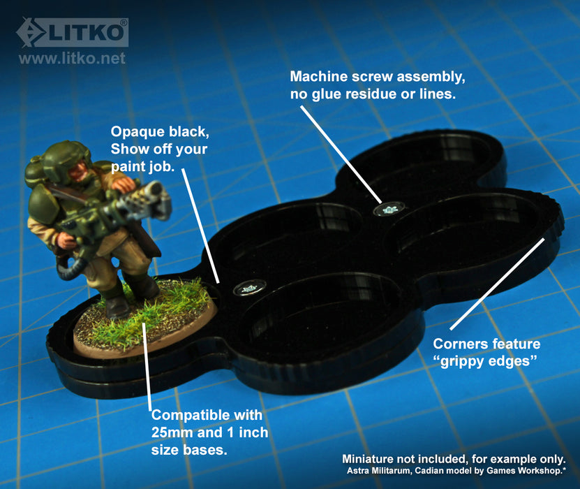 LITKO 5-Figure 25mm Circle Display Tray, Black - LITKO Game Accessories