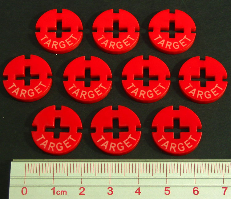 Target Tokens, Red (10) - LITKO Game Accessories