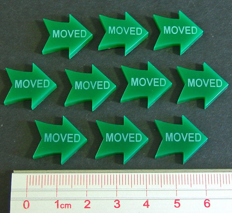 Moved Tokens, Green (10) - LITKO Game Accessories