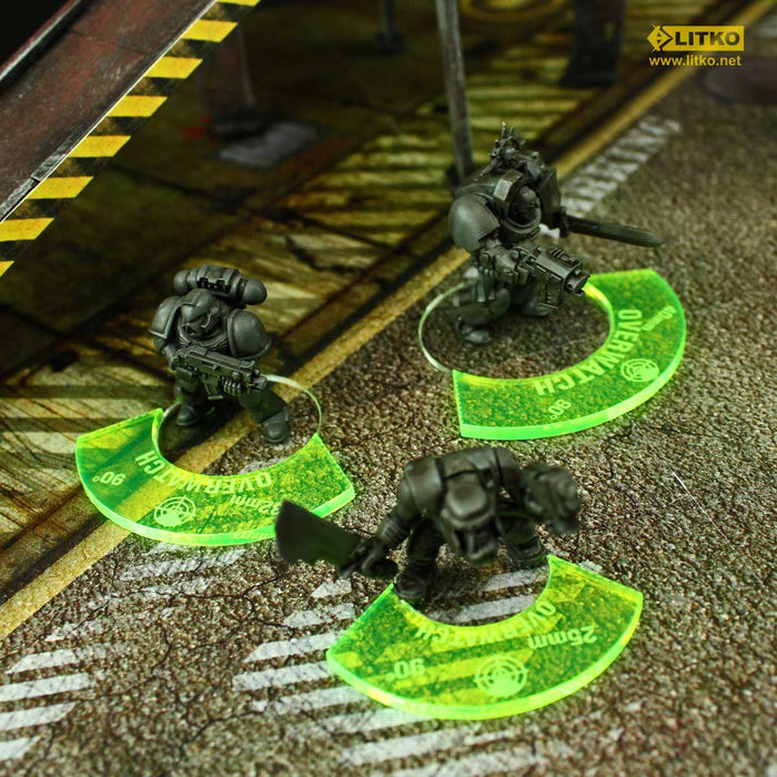 Armageddon Overwatch Tokens, 32mm Bases, Fluorescent Green (3) - LITKO Game Accessories