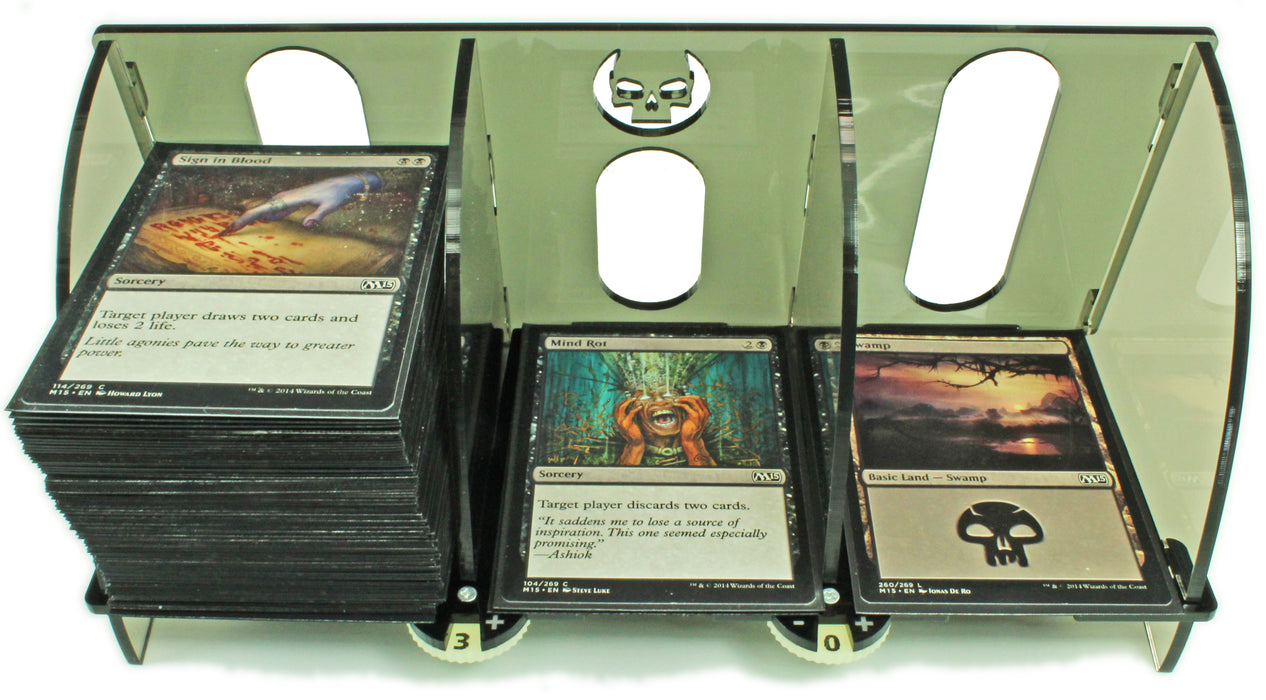 LITKO Card Deck Tray with Life Count Dials Compatible with MtG, Black - LITKO Game Accessories