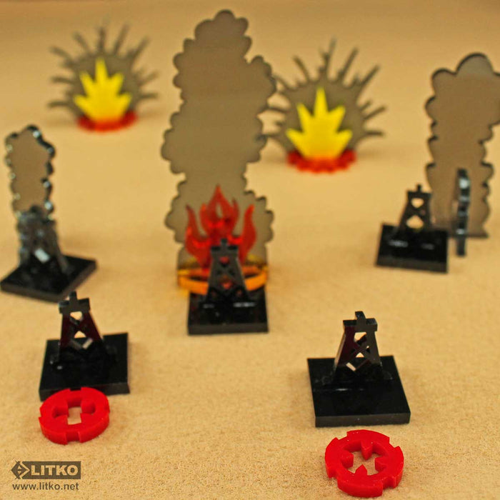 Oil Derrick Markers, Black (5) - LITKO Game Accessories