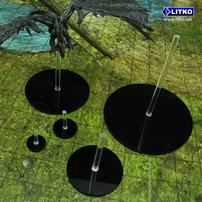 RPG Flight Stands, 3 Inch Circular, HUGE figure size - LITKO Game Accessories