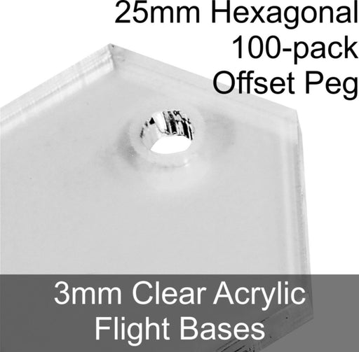 Flight Bases, Hexagonal, 25mm (Offset Peg), 3mm Clear (100) - LITKO Game Accessories